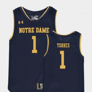 College Basketball Special Games Austin Torres Notre Dame Jersey Youth Replica Navy #1 431114-752