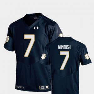 Replica Youth College Football #7 Navy Brandon Wimbush Notre Dame Jersey 623852-845