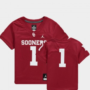 College Football Crimson #1 OU Jersey For Kids Team Replica 862162-605