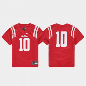Youth(Kids) #10 Ole Miss Jersey Replica Football Red 771174-922