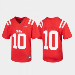 #10 Football Untouchable Kids Ole Miss Jersey Red 286926-740