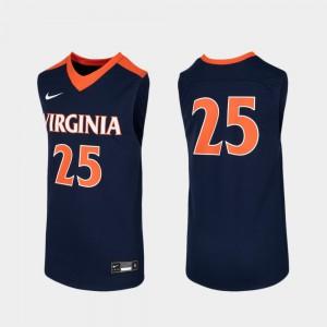 Youth(Kids) Navy #25 Replica College Basketball UVA Jersey 219343-185