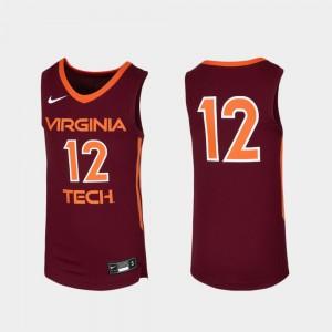 Youth Maroon Virginia Tech Jersey Replica Basketball #12 912495-632