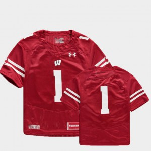 Wisconsin Jersey College Football Finished Replica #1 Red For Kids 645725-506